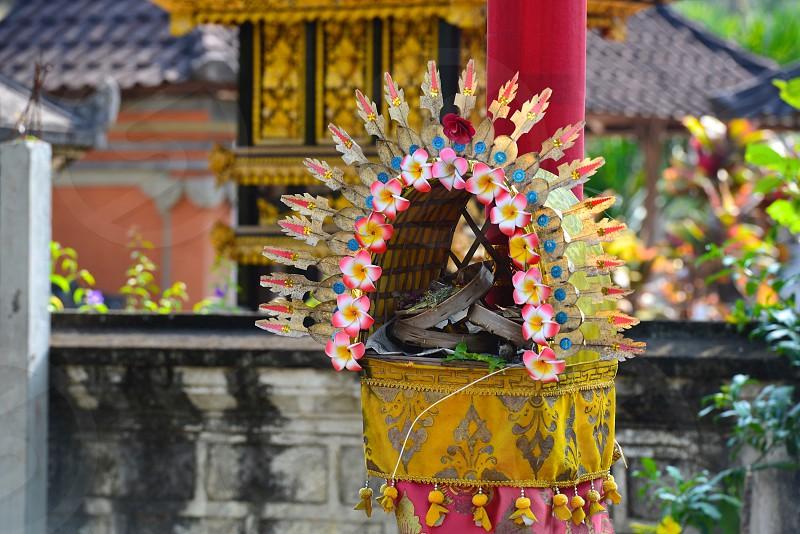 Hindu Offering in Bali Indonesia photo