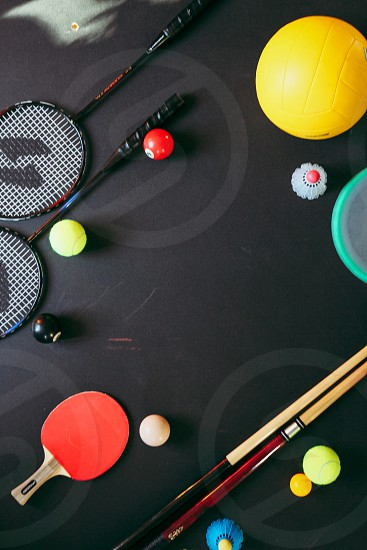 Sports gears equipments play arranged banner top view balls badminton frisbee ping pong pool volleyball  photo