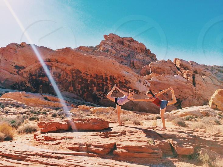 Yoga yogi health desert Nevada USA roadtrip balance valley of fire friends photo