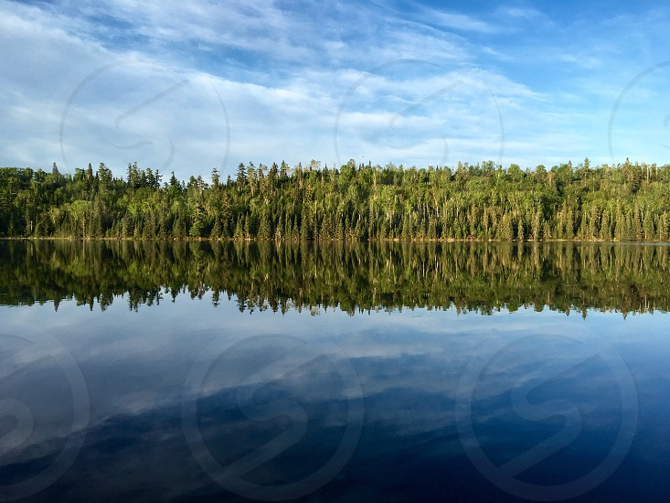 Northwoods lake with reflection pine trees still water photo