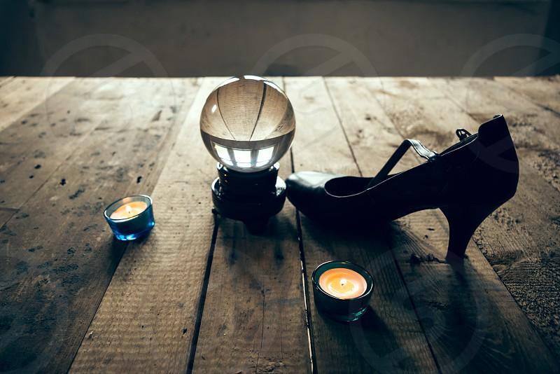 Wood magic ball tea lights pumps grain magic mysticism photo