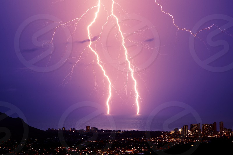 Waikiki lightning Hawaii Oahu rare storm ocean photo