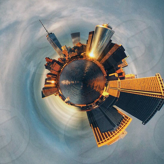 city building fish eye view photo