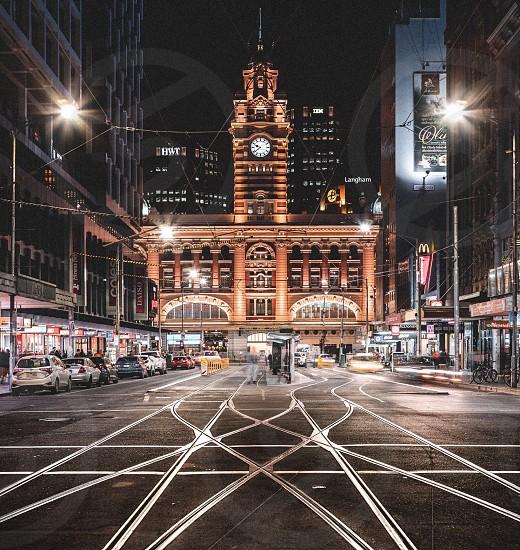 Flinders street station Melbourne nights night photography Melbourne CBD Elizabeth Street winter night winter clock photo