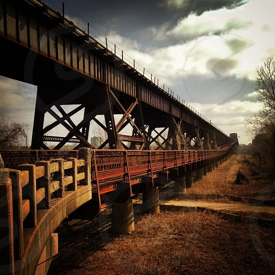 bridge train tracks ironworks history mississippi river iron steel rust Arkansas West Memphis Union Pacific  photo