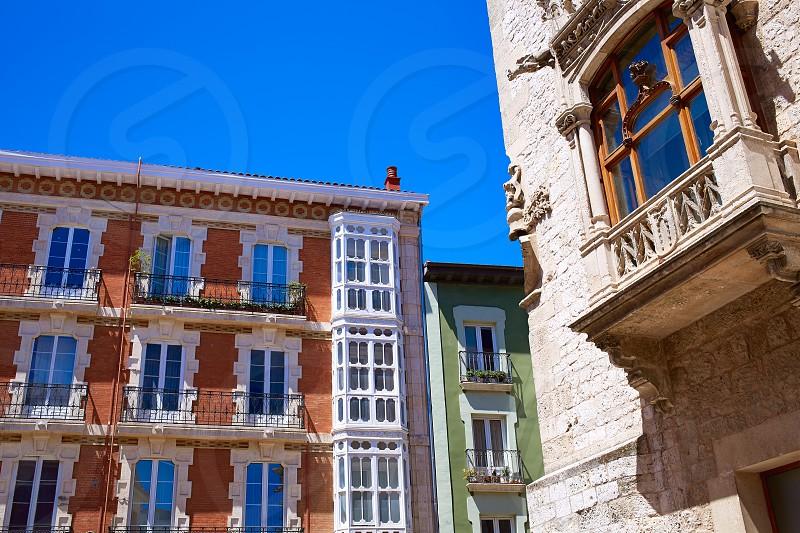 Burgos plaza de la Libertad square facades in Castilla Leon of Spain photo