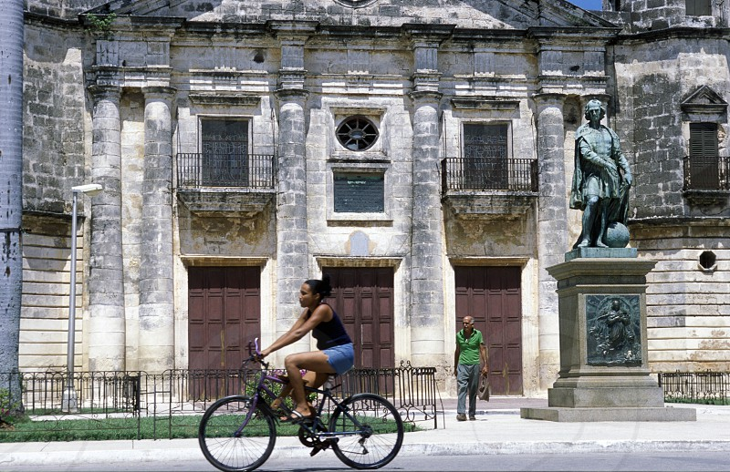 the cathedral with a Columbus Monument in the old town of cardenas in the provine of Matanzas on Cuba in the caribbean sea. photo