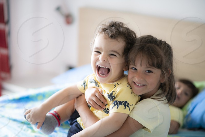 Smile family toddlers kids indoor photo