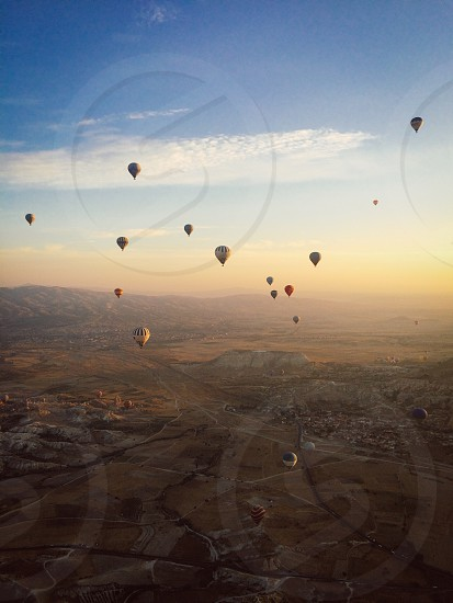 Capadoccia travel turkey hot air balloons sunrise photo