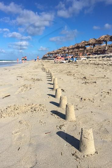 Series of figures of sand on the beach Cuba Varadero photo