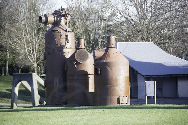 Gasworks Park in Seattle has kept a remnant of the past with the pipes from the former gas works painted and on display for residents and tourists to enjoy photo