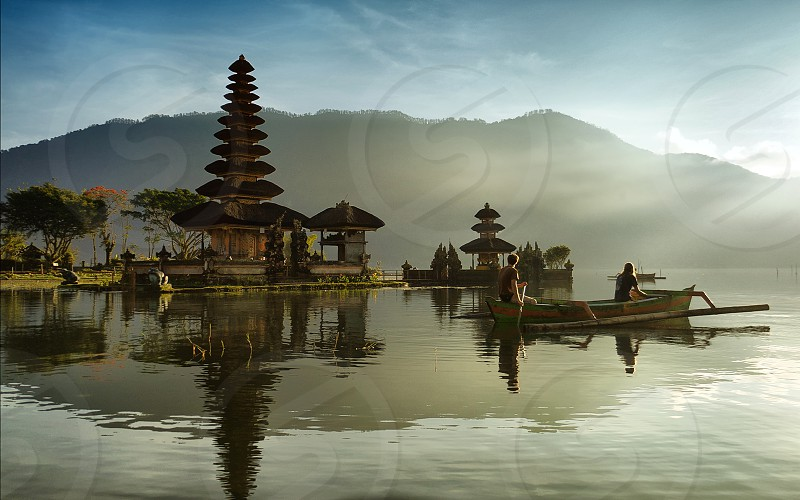 Ulun Danu Temple at Bratan lake Bali - Indonesia photo