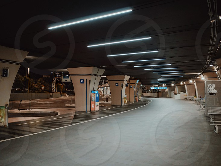 Rome Italy - June 2018: bus station at Fiumicino international airport photo