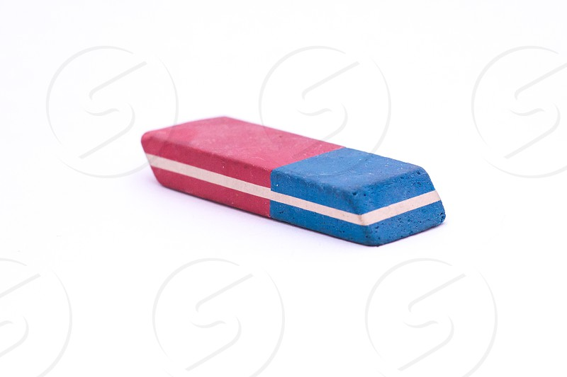 Two-Colored Eraser Isolated on White Background photo
