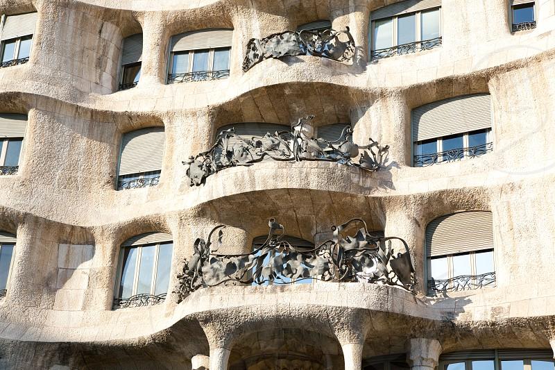 Barcelona La Pedrera facade by Gaudi architect in Paseo de Gracia photo