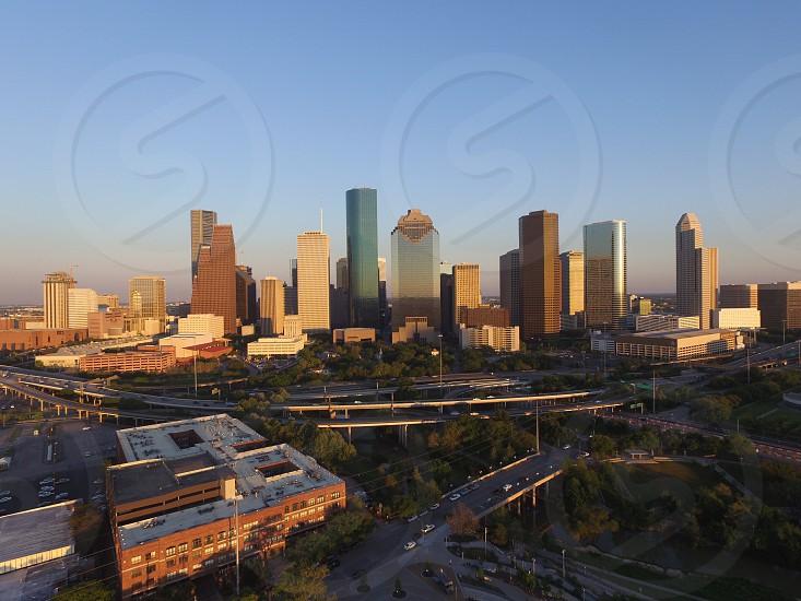 Houston Texas skyline aerial drone photo