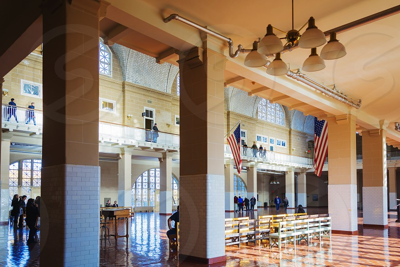 New York USA november 2016: The Great Hall of the Ellis Island Museum with tourists photo
