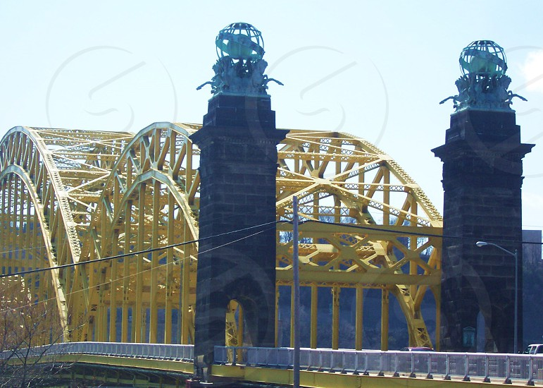 grey bridge with yellow frame photo