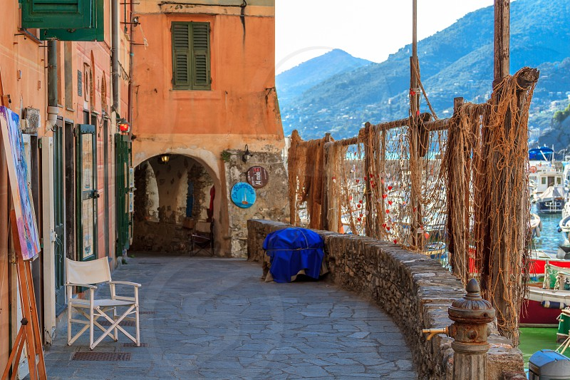 Seaport of Camogli Italy with leading lines photo