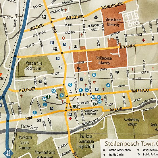 Map town overview Stellenbosch South Africa  photo