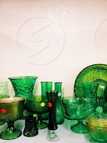 green tinted glass table top decors photo