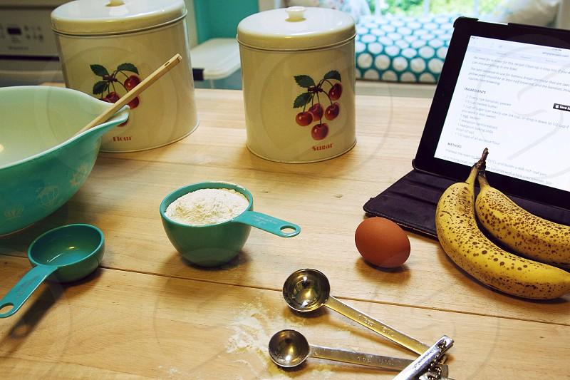 Making banana bread from Internet online recipe  photo