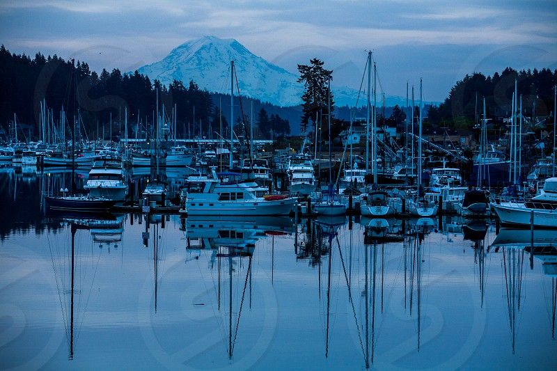 Blue hour Gid Harbur Seattle Washington state photo