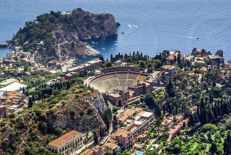 Aerial view of the Greek Theatre of Taormina Sicily photo