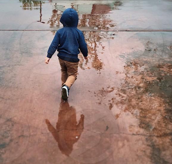 Puddles rain hoodie boy kid blue rainy photo