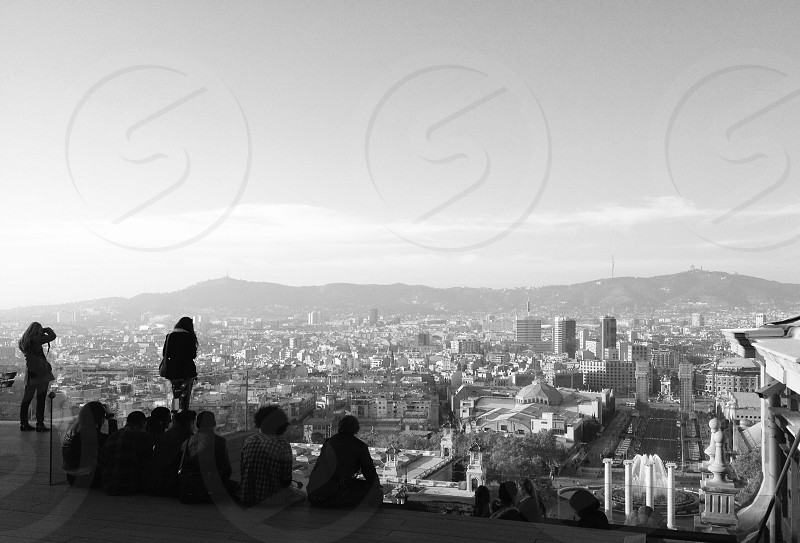 Students atop the National Museum of Art Barcelona photo