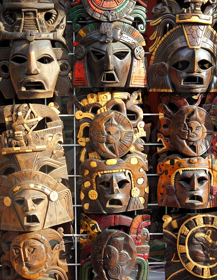 art Mexican of wooden mask handcrafts photo