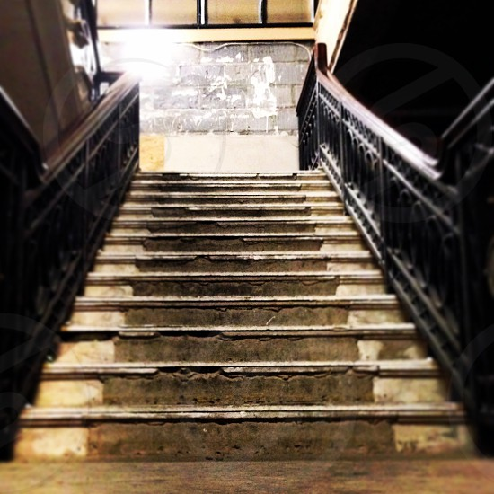 Staircase in an abandoned hotel photo