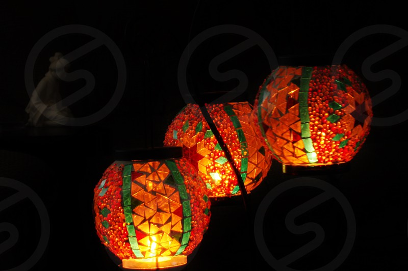 orange lighted lantern photo