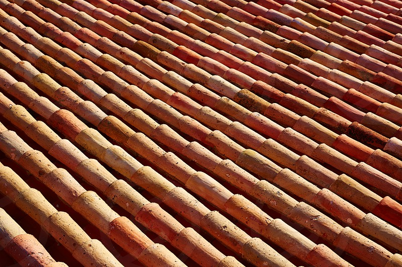 Arabic roof tiles pattern texture in Teruel of Spain photo