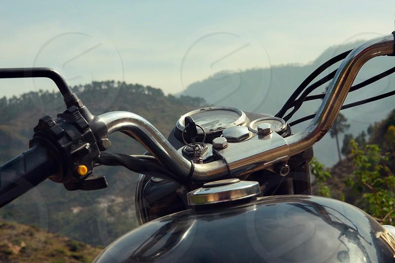 Royal Enfield motorcycle in the Himalayas India photo