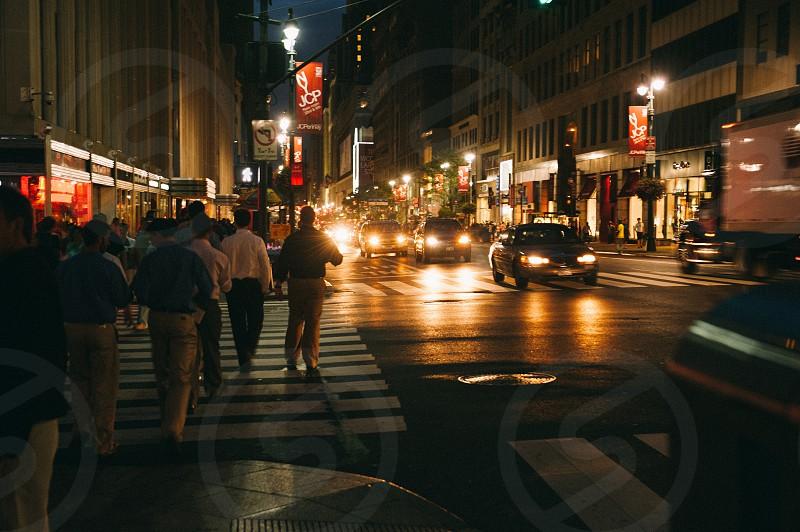 Nighttime on Manhattan streets photo