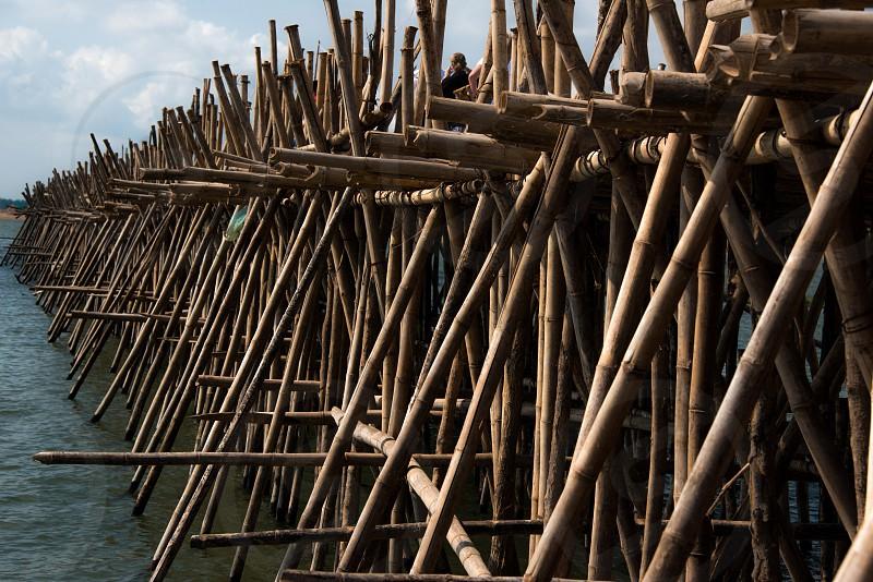 Bamboo bridge close-up Cambodia. photo