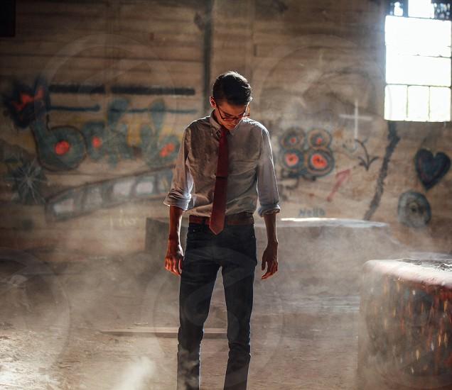men's red suit tie photo