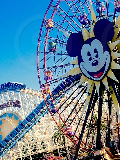 Disney blue blue sky amusement park amusement ride ferries wheel vacations Mickey Mouse  photo