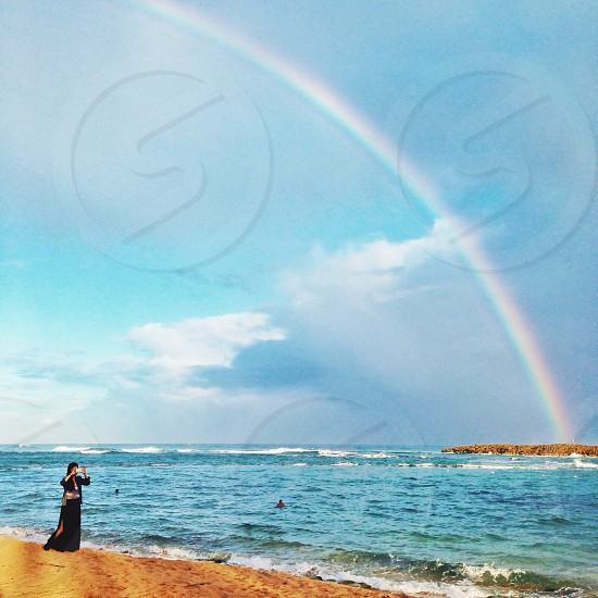 rainbow and ocean view photo