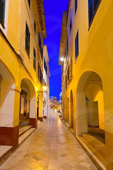 Ciutadella Menorca Ses Voltes arches Ciudadela downtown in Balearic islands photo