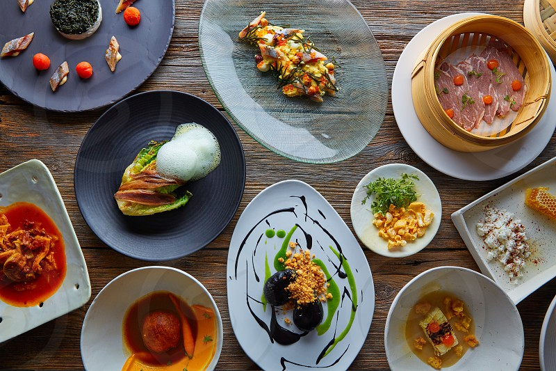 Molecular gastronomy variety of recipes Modern cuisine photo