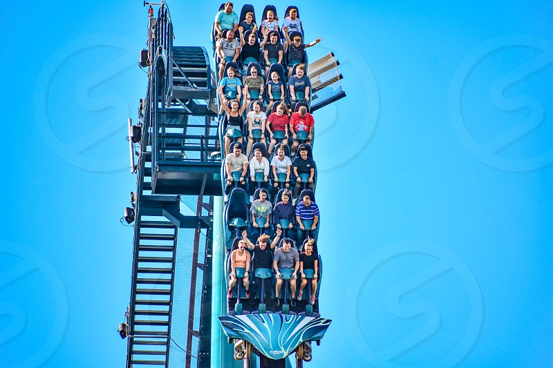 Orlando Florida. December 26 2018. This roller coaster is known for high speeds deep dives and thrills around every turn at Seaworld in International Drive area (1) photo