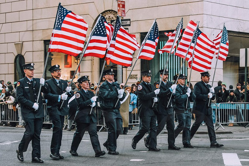 Parade flags policemen March  photo