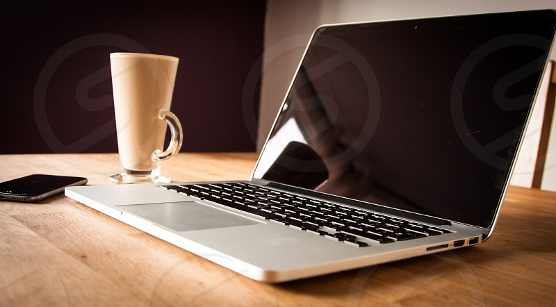 Apple Laptop Apple iPhone Cup of Coffee photo