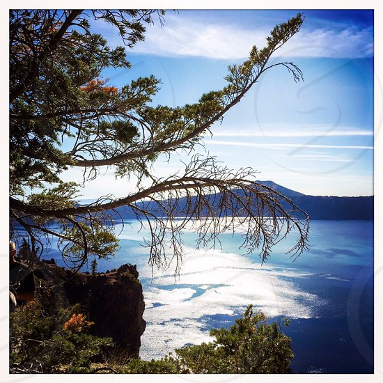 Outdoor day colour filter square Crater Lake Oregon OR lake water nature view vista picturesque shine glow beauty photo