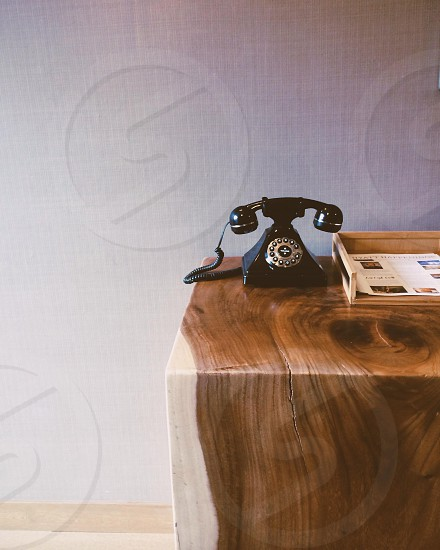 black old style telephone photo