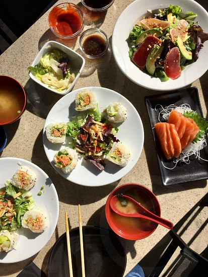 What's on the table sushi fresh fish seafood produce vegetable healthy Japanese table  photo