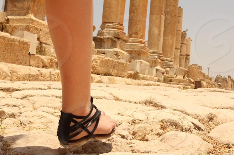 Exploring the ruins of an ancient Roman city: Jerash Jordan. photo