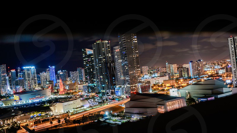 Color art large awesome beautiful landscape city street night Miami south beach downtown from above cars long exposure contrast colorful evening sky starts buildings sky scrapers modern classic urban photo